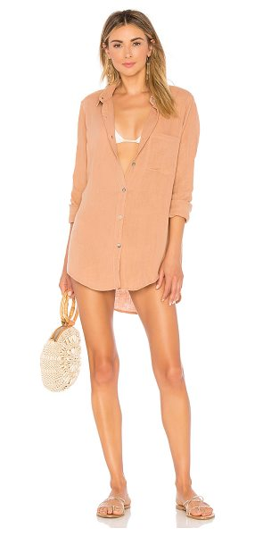 Acacia Swimwear Milos Shirt Dress in tan - 100% cotton. Unlined. Exposed front button closure....