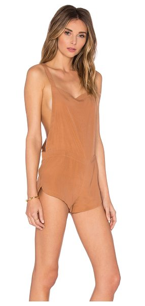 Acacia Swimwear Snapper short overall in tan - 95% silk 5% spandex. Dry clean only. Adjustable shoulder...