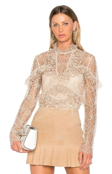 Acler Elan Lace Blouse in buff - Self: 100% polyLining: 100% cupro. Hand wash cold....