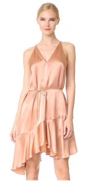 Acler richie silk dress in salmon - A lustrous Acler slip dress with a fluttery handkerchief...