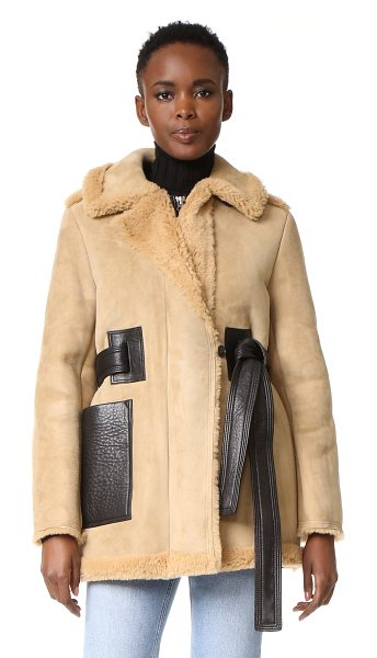 Acne Studios fayette suede shearling coat in beige - A warm, substantial Acne Studios jacket made from cozy,...
