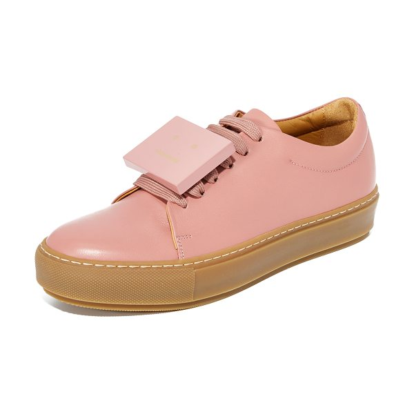 Acne Studios adriana turnup sneakers in pale pink - These smooth leather Acne Studios low-top sneakers...