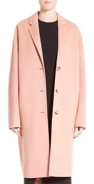 Acne Studios avalon wool & cashmere coat in pale pink - A relaxed cocoon silhouette renders this sumptuous...