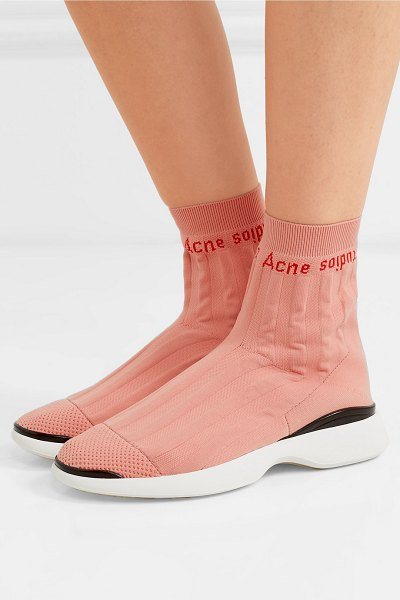 Acne Studios batilda mesh-trimmed logo-jacquard stretch-knit sneakers in pastel pink - Acne Studios' 'Batilda' sneakers are the same...