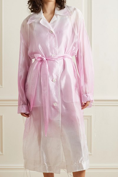 Acne Studios belted ombré organza trench coat in pink