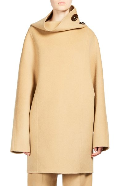 Acne Studios chessa wool jacket in camel - High neck pullover jacket in luxe wool. High neckline...