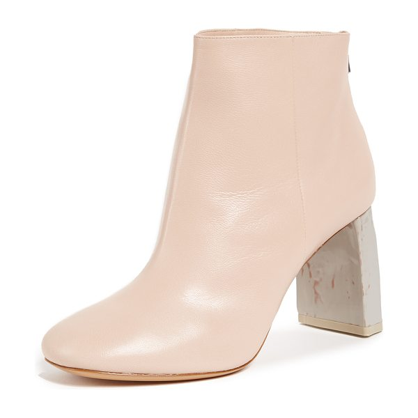 Acne Studios claudine high heel booties in pink/grey - Bold Acne Studios booties in smooth leather with chunky...