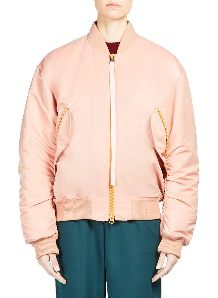 Acne Studios clea bomber jacket in pale pink - Zip front bomber jacket with ribbed trim. Stand collar....