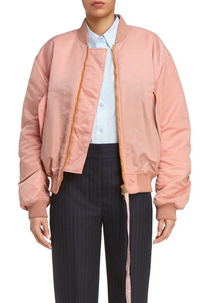 Acne Studios clea crop bomber jacket in pale pink - A delicate shell-pink hue puts a girlish spin on a...