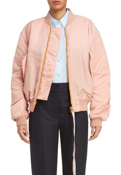 ACNE STUDIOS clea crop bomber jacket - A delicate shell-pink hue puts a girlish spin on a...