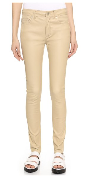 Acne Studios Close leather pants in linen beige - Slim leather Acne Studios trousers with classic details....