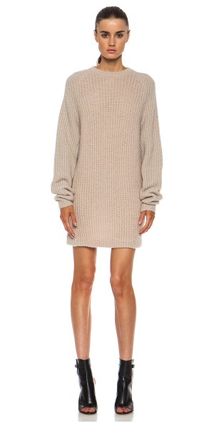 Acne Studios Davina mix mohair-blend sweater in neutrals - 58% mohair 36% poly 6% wool.  Knit fabric.  Rib knit trim.