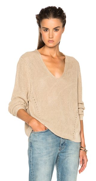 Acne Studios Deborah chunky sweater in neutrals - 100% linen.  Made in China.  Rib knit fabric.