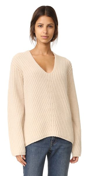 Acne Studios deborah l wool sweater in camel beige - A cozy Acne Studios sweater in thick, ribbed wool. Slim...