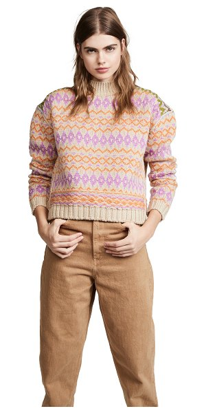 Acne Studios fair isle sweater in beige/pink - Fabric: Chunky knit Geometric print Pullover style...