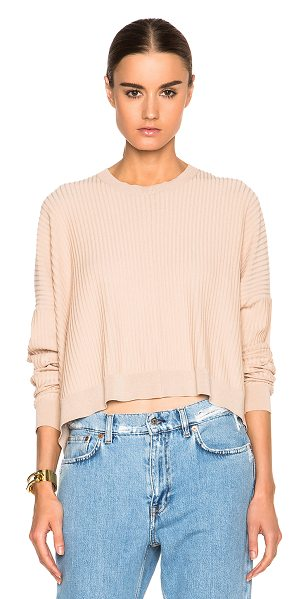 Acne Studios Issy rib sweater in neutrals - 63% cotton 37% nylon.  Made in China.  Rib knit fabric. ...