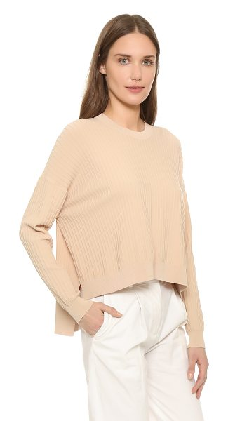 Acne Studios Issy ribbed pullover in nougat beige - Slinky ribbed knit complements the easy drape of an...