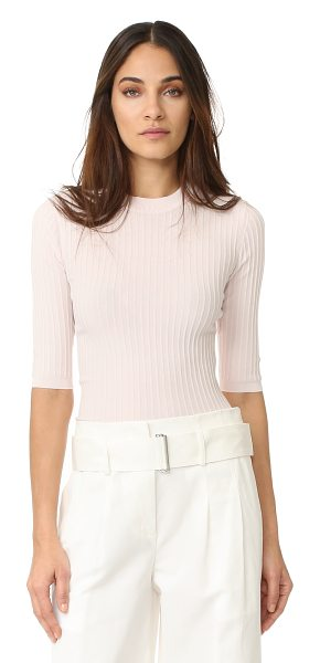 Acne Studios iza rib 3/4 sleeve sweater in pale pink - Fine ribbing accents this formfitting Acne Studios...
