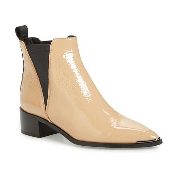 Acne Studios 'jensen' pointy toe bootie in natural patent - Angular elastic goring eases the fit of a sleek ankle...