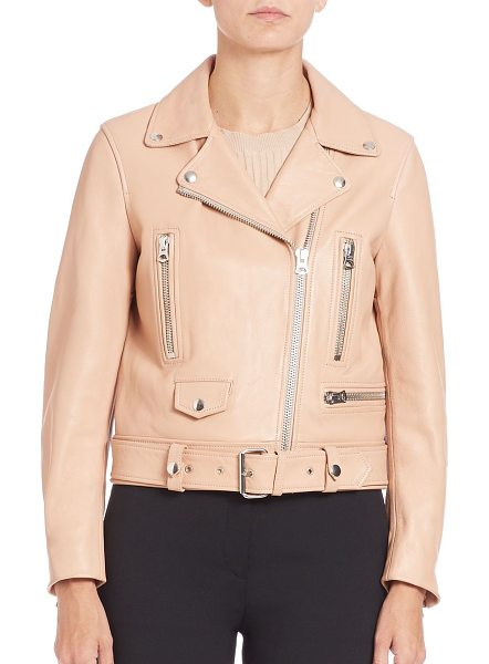 Acne Studios Leather moto jacket in peach - Signature design in supple leatherNotched collar with...