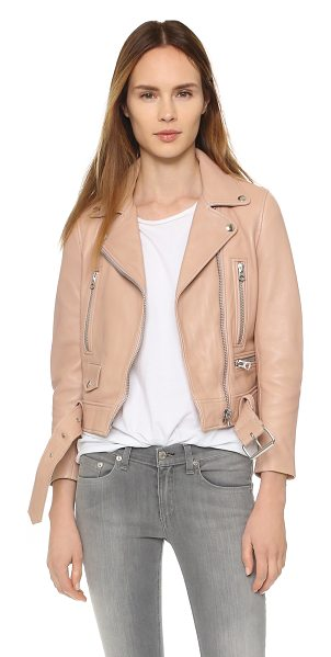 ACNE STUDIOS Leather moto jacket in peach - Description An Acne Studios jacket with a classic moto...