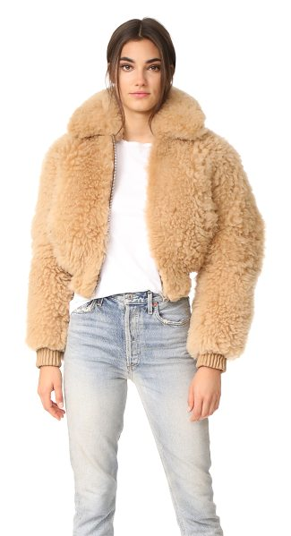 ACNE STUDIOS linne cropped shearling jacket in camel - This super-plush Acne Studios cropped jacket is composed...