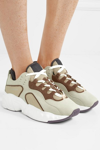 Acne Studios manhattan leather, suede and mesh sneakers in beige