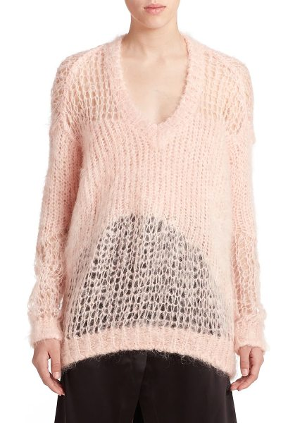Acne Studios Manuel open-knit mohair sweater in lightpink