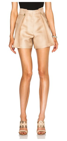 Acne Studios Marsielle high waist shorts in neutrals - 61% silk 39% nylon.  Made in Italy.  Hook and bar front...