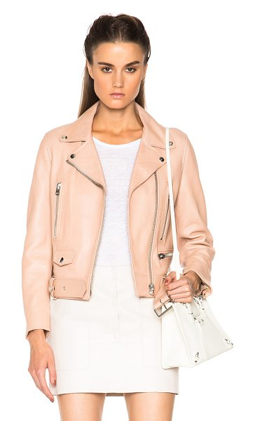 Acne Studios Mock leather jacket in pink - 100% lambskin leather.  Made in Turkey.  Zip front...