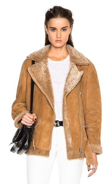 Acne Studios More Lamb Shearling Jacket in brown,neutrals - Self: 100% real dyed lamb shearling - Contrast Fabric:...