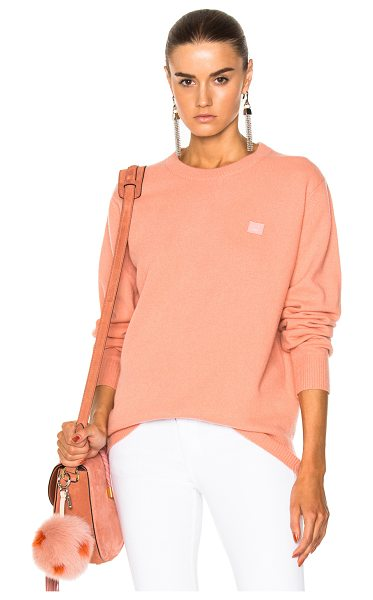Acne Studios Nalon Face Pullover Sweater in pink - 100% wool.  Made in China.  Hand wash.  Knit fabric. ...
