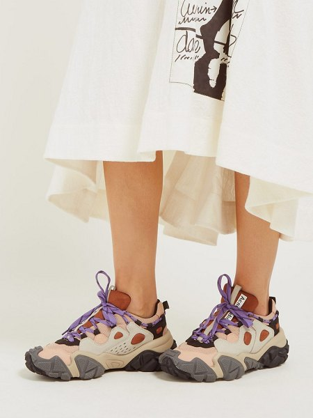 Acne Studios bolzter suede and mesh trainers in beige multi
