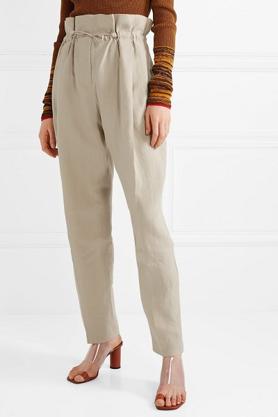 Acne Studios paoli pleated linen tapered pants in beige