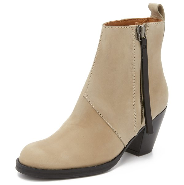 Acne Studios Pistol sh booties in beige - Topstitching details these smooth leather Acne Studios...