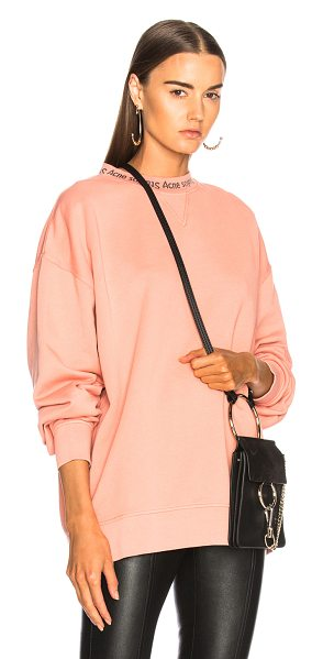 Acne Studios Yana Sweater in pink - Self: 100% cotton - Contrast Fabric: 88% cotton 12% poly...