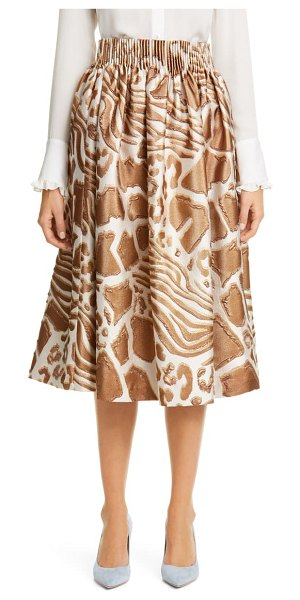 Adam Lippes animal pattern gathered jacquard skirt in brown