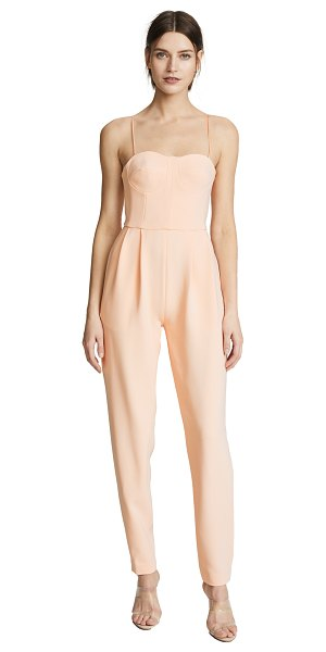 Adam Lippes bustier jumpsuit in peach - Fabric: Stretch crepe Boned bodice with underwire cups...