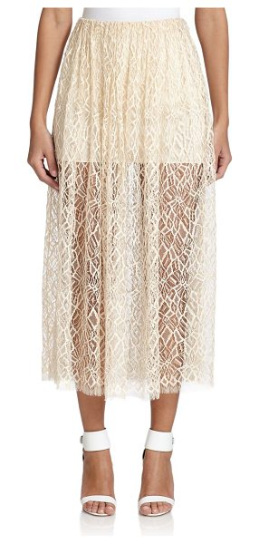 Adam Lippes Double-layer lace midi skirt in butter - An ethereal design in abstract-patterned lace, finished...
