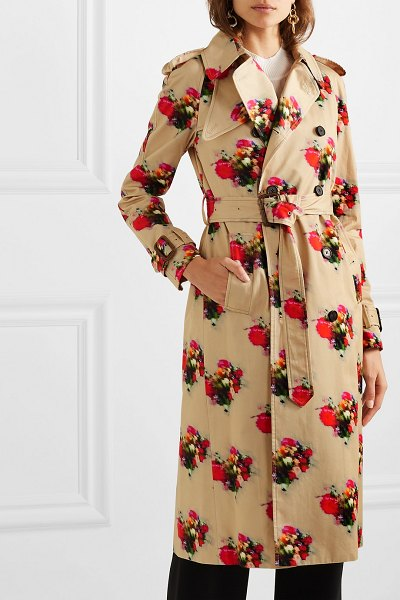 Adam Lippes floral-print cotton-twill trench coat in beige
