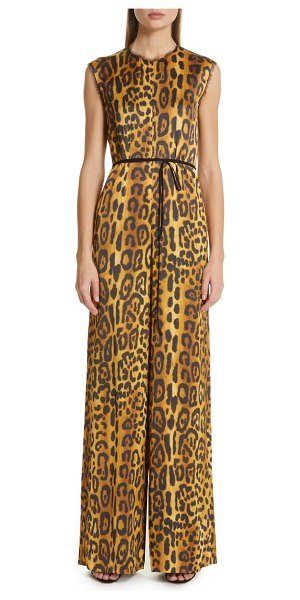 Adam Lippes jaguar print satin crepe jumpsuit in brown - Walk on the wide side in this wide-leg jumpsuit...