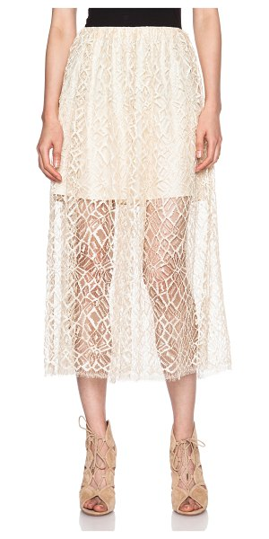 Adam Lippes Moroccan lace double layer lace skirt in neutrals - Self: 40% viscose 38% cotton 22% nylon - Lining: 100%...