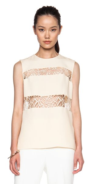 ADAM LIPPES Moroccan lace inset silk top - Self: 100% silk - Contrast Fabric: 40% viscose 38%...