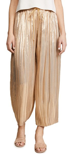 Adam Lippes pleated lame ankle pants with drawstring waist in gold - Fabric: Lamé Wide-leg cut Ankle length Drawstring at...