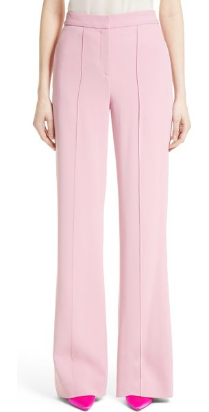 ADAM LIPPES stretch cady wide leg trousers in pink - Cut with a long, languid silhouette that's punctuated by...