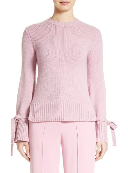 Adam Lippes wool & cashmere bell sleeve sweater in pink - Belted cuffs draw close the flared bell sleeves of this...