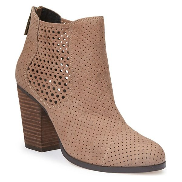 Adam Tucker by Me Too adam tucker frankee bootie in rosewood suede - A blocky stacked heel elevates a trend-right...