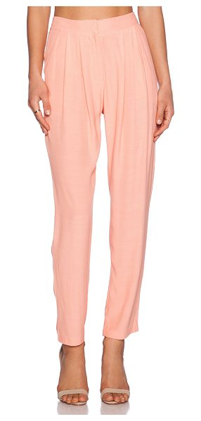 Addison Ciara Pleated Trouser in peach - 100% viscose. Front slant pockets. Double back welt...