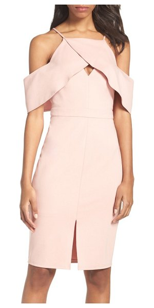Adelyn Rae cold shoulder sheath dress in nude pink - An architectural ruffle swoops down the halter neckline...