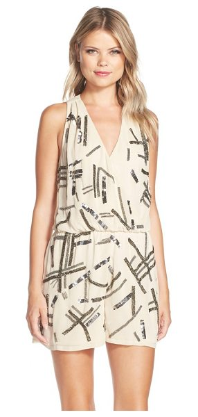 Adelyn Rae embellished georgette romper in nude - Edgy, sporadic sparkle primes this blousy surplice-neck...